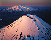 Snow-capped Peak Prints - Mt Ngauruhoe and Mt Ruapehu Print by Rob Brown