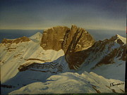 Summit Painting Posters - Mt Olympus Summit Poster by Alexandros Tsourakis