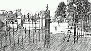 Headstones Digital Art Posters - Mt. Pleasant Cemetery Family Gates Poster by PAMELA Smale Williams