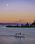 Sailboat Photos Prints - Mt. Rainier Afterglow Print by Adam Romanowicz