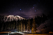 Snow Covered Mountains Prints - Mt. Rose Highway and Ski Resort at Night Print by Scott McGuire