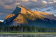 Storm Prints Digital Art Posters - Mt. Rundle Grandeur Poster by Jerry Fornarotto
