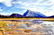 Canoe Waterfall Framed Prints - Mt Rundle Framed Print by Laura Strain