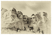 Teddy Roosevelt Digital Art Posters - Mt Rushmore 1943 Poster by John Haldane