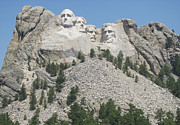 Politicians Pyrography Prints - Mt. Rushmore at a Distance Print by Karen Gross