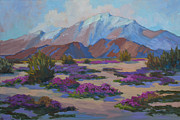 Verbena Paintings - Mt. San Jacinto and Verbena by Diane McClary