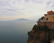 Naples Italy Photos - Mt Vesuvius From Sorrento at Dusk by Marilyn Dunlap
