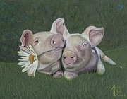 Pig Framed Prints - Mu and Shu Framed Print by Angie Deaver