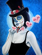 Painted Face Prints - MUAH Bella Muerte Thanks You Print by Al  Molina