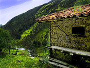 Tile Roof Framed Prints - Mud Hut In The Cajas Framed Print by Al Bourassa