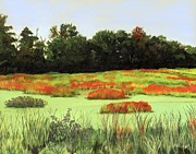 Colorful Landscape Paintings - Mud Lake Marsh by Lynne Reichhart