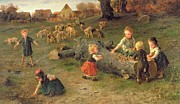 Autumn Landscape Painting Prints - Mud Pies Print by Ludwig Knaus
