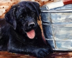 Black Lab Puppy Paintings - Mud Pies by Molly Poole