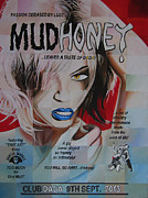 Rock N Roll Drawings Prints - Mudhoney Print by Steve Hunter
