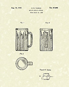 Glass Art Drawings Posters - Mug 1932 Patent Art Poster by Prior Art Design