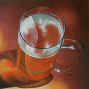 Glass Reflections Painting Framed Prints - Mug of Beer Framed Print by Timothy Jones