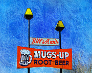 Black Top Mixed Media Posters - Mugs Up Root Beer Drive In Sign Poster by Andee Photography