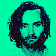 Square Sizes Metal Prints - Mugshot Charles Manson p128 Metal Print by Wingsdomain Art and Photography