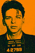 Americans Digital Art Metal Prints - Mugshot Frank Sinatra v1 Metal Print by Wingsdomain Art and Photography