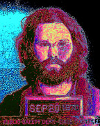 Jim Morrison Digital Art Prints - Mugshot Jim Morrison 20130329 Print by Wingsdomain Art and Photography