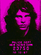 Celebrities Framed Prints - Mugshot Jim Morrison m88 Framed Print by Wingsdomain Art and Photography