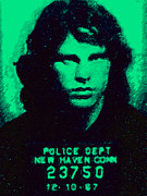 Jim Morrison Digital Art Prints - Mugshot Jim Morrison p128 Print by Wingsdomain Art and Photography