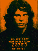Jim Morrison Digital Art Prints - Mugshot Jim Morrison Print by Wingsdomain Art and Photography