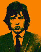 Pop Singer Framed Prints - Mugshot Mick Jagger p0 Framed Print by Wingsdomain Art and Photography