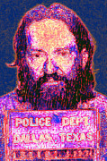 Famous Americans Posters - Mugshot Willie Nelson Painterly 20130328 Poster by Wingsdomain Art and Photography