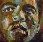 Watercolour Canvas Paintings - Muhammad Ali   by Paul Lovering
