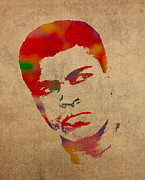 Boxer Mixed Media Posters - Muhammad Ali Watercolor Portrait on Worn Distressed Canvas Poster by Design Turnpike