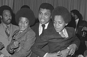 Jackson 5 Photo Posters - Muhammad Ali with Young Michael Jackson Poster by Brian Douglas