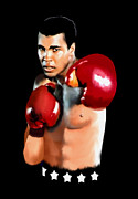 Boxing Gloves Painting Prints - Muhammed Ali Print by Jann Paxton