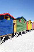 Beach Huts Framed Prints - Muizenberg Beach Huts   Framed Print by Neil Overy