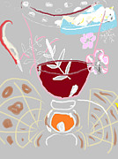 Wintery Digital Art Prints - Muji with Wine Glass Print by Anita Dale Livaditis