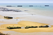 Normandy Landings Posters - Mulberry harbour remains at Arromanches Les Bains Normandy France Europe Poster by Jon Boyes