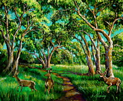 Live Oak Trees Paintings - Mule Deer in the Live Oak by Jan Mecklenburg