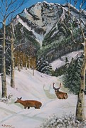 Metal Trees Originals - Mule Deer in Winter by Sharon Duguay