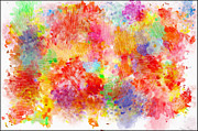 Multi Colored Ditgital Abstract 4 Print by Debbie Portwood