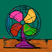 Electric Fan Framed Prints - Multi-Colored Fan Framed Print by Dale Moses