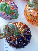 Hand Blown Glass Art Originals - Multi Colored Pumpkins by Alexis De Leon