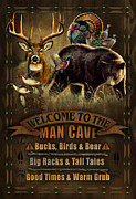 """man Cave"" Painting Framed Prints - Multi Specie Man Cave Framed Print by JQ Licensing"