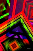 Geometrical Metal Prints - Multicolor Geometric Artwork Metal Print by Mario  Perez