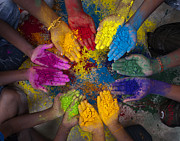 Festivities Photo Prints - Multicoloured Hands Print by Tim Gainey