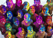 Laugh Photo Metal Prints - Multicoloured Happy Faces Metal Print by Tim Gainey