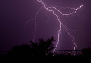 Chris Spangler Prints - Multiple lightning strikes in Casa Grande Arizona Print by Chris Spangler