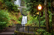 Below Framed Prints - Multnomah Falls Framed Print by Brian Jannsen