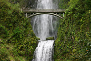 Monica Veraguth Prints - Multnomah Falls Bridge Print by Monica Veraguth