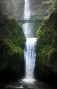 Outside Mixed Media Framed Prints - Multnomah Falls Framed Print by Heather L Giltner