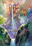 Falls Paintings - Multnomah Falls -Late Summer Evening by Michael David Sorensen